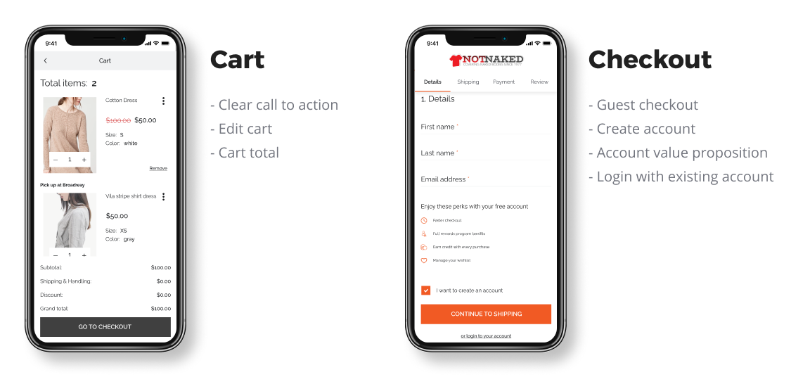 Cart and Checkout